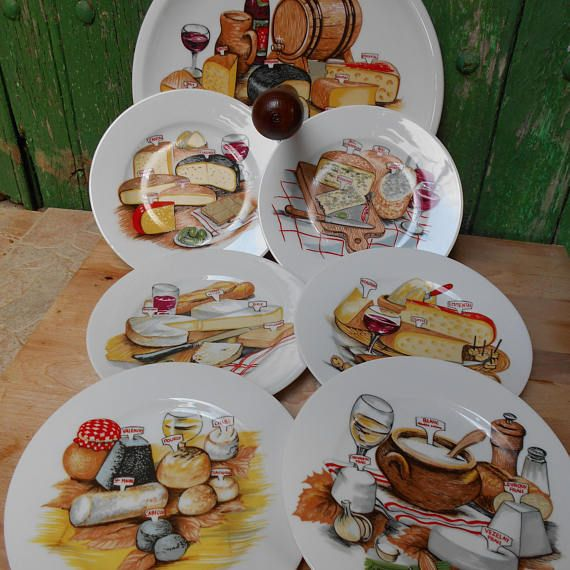 Set of Six French Cheese Plates and Matching Cheese Serving & Set of Six French Cheese Plates and Matching Cheese Serving | French ...