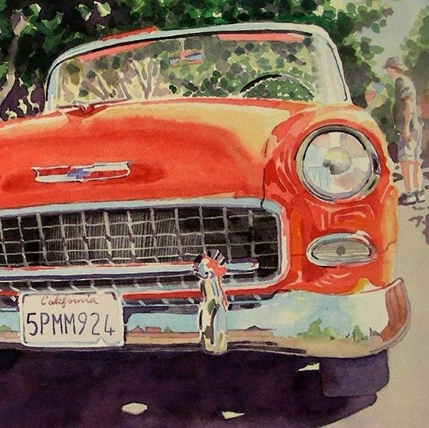 Watercolor Painting Of Old Cars Antique Car Art Watercolor