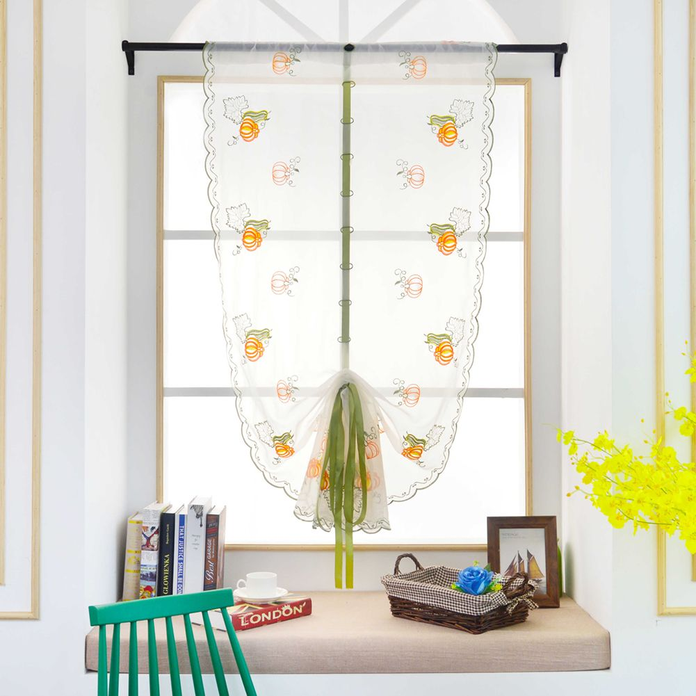Linen Embroidered Curtain Bedroom Window White Tulle Gauze Voile ...