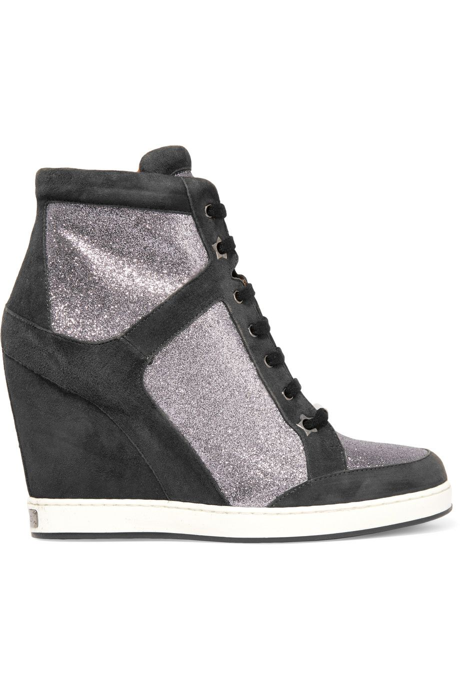 a9aebd7c2dd JIMMY CHOO Glittered leather and suede wedge sneakers.  jimmychoo  shoes   sneakers
