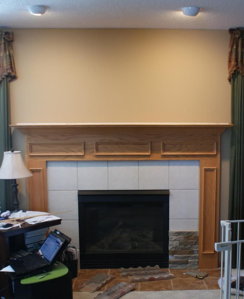 Superb Fireplace Before Refacing With AirStone. Icky Honey Oak Color Mantel. Fireplace  IdeasAirstoneOak ...