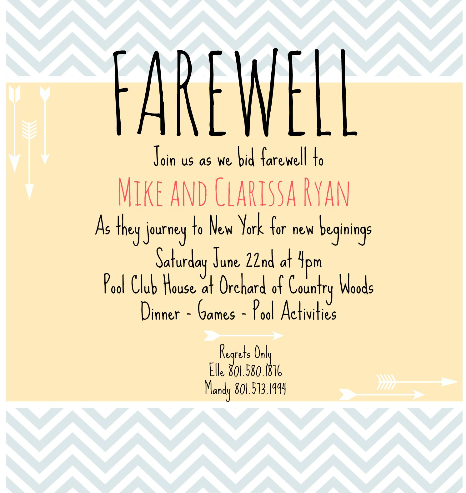 Going Away Party Invitation Wording