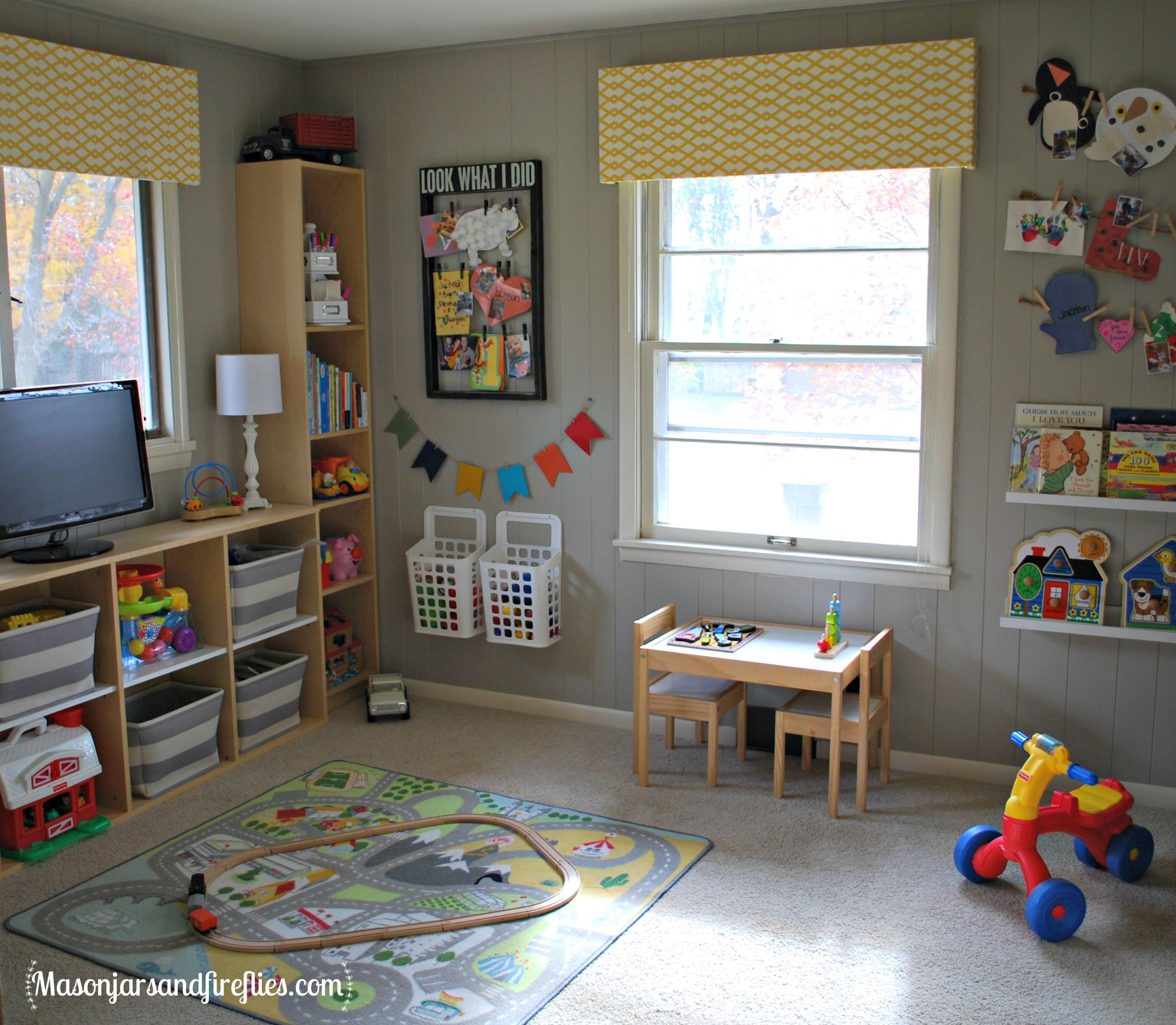 Playroom Makeover On A Budget By Www Masonjarsandfireflies Com Kid Room Decor Toddler Playroom Toddler Boys Room