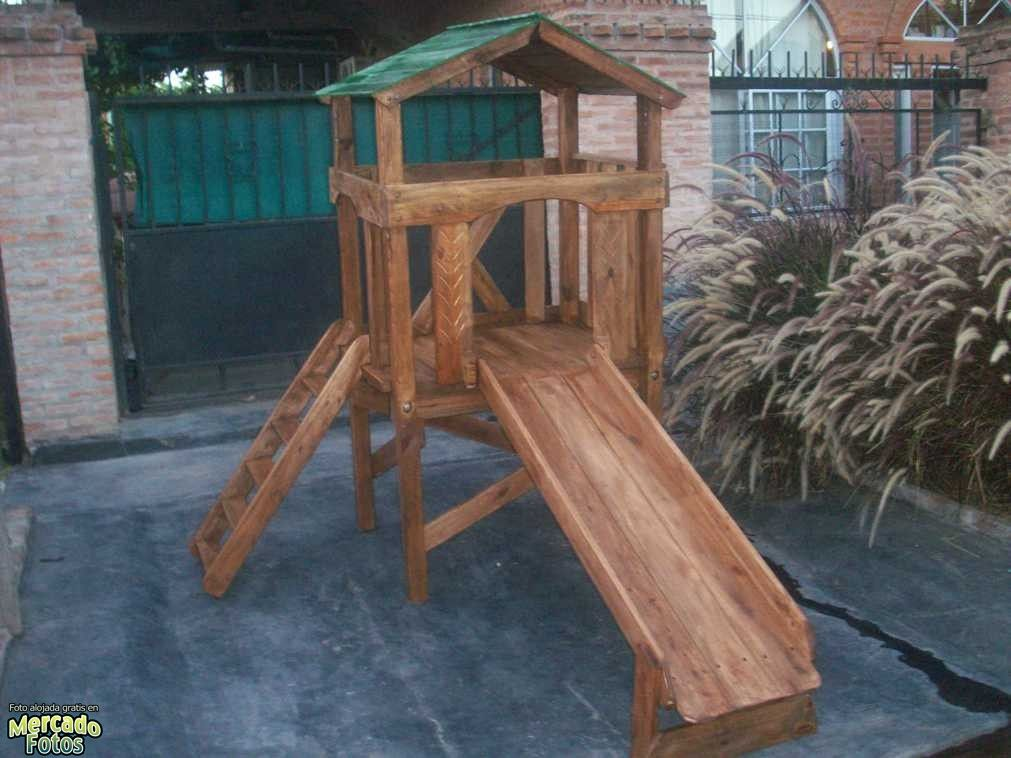 Juegos De Plaza Mangrullo Con Tobogan De Madera Sube Y
