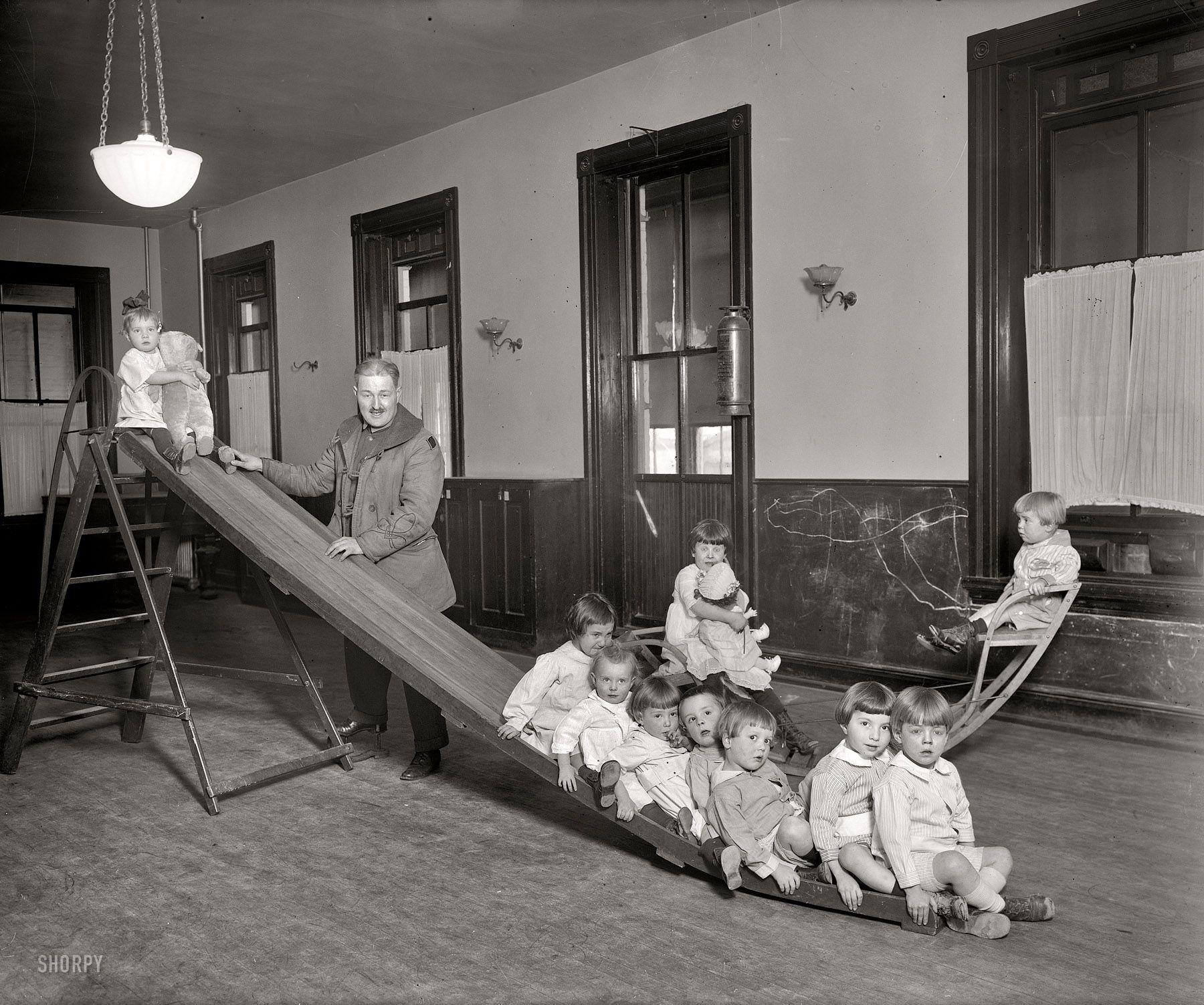 "Washington, D.C., circa 1921. ""Foundling Hospital, playroom."" Tots ..."