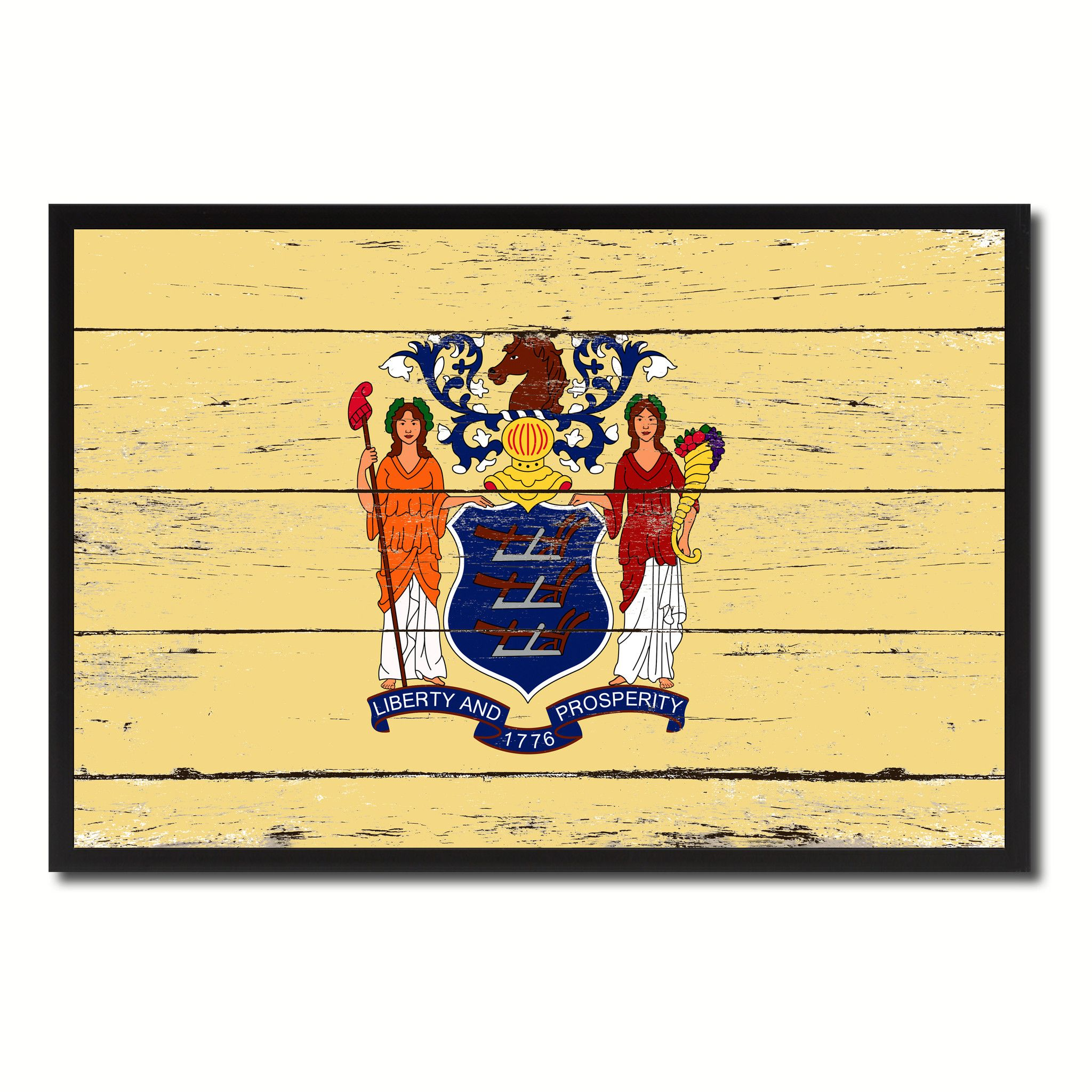 New Jersey State Flag Vintage Canvas Print with Black Picture Frame ...