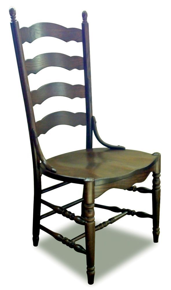 Set (4) Amish Country Ladderback Dining Side Chairs Solid ...