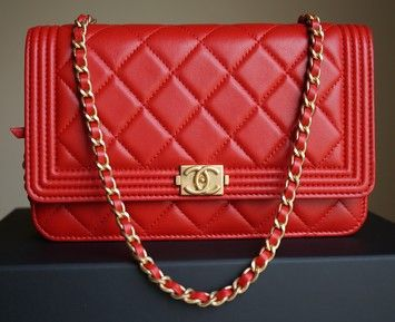 37fea7459b67 Chanel Le Boy Woc Wallet On Chain With Gold Hardware 15a Red Cross Body Bag.