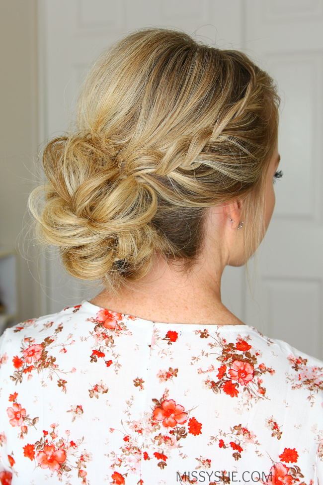 low bun hair styles lace braids updo bridesmaid lace 1699