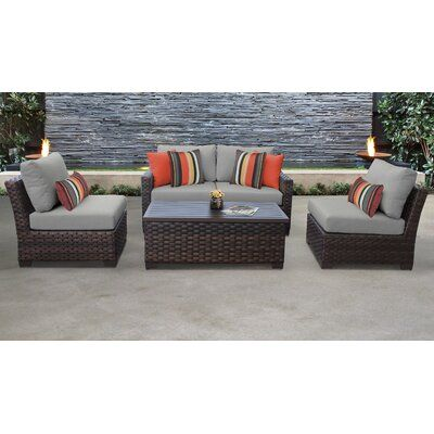 Burruss Patio Sectional With Cushions Outdoor Wicker Patio