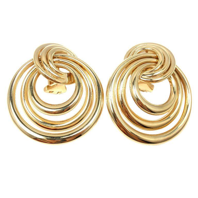 Yellow Teardrop Earrings Blue Enamel Gold Metal Vintage Big Earrings Costume Jewelry Stud Post Earrings