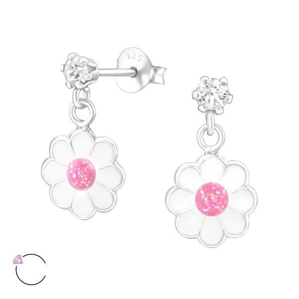 DTPSilver - 925 Sterling Silver Daisy Flower Dangle Earrings sYkDg