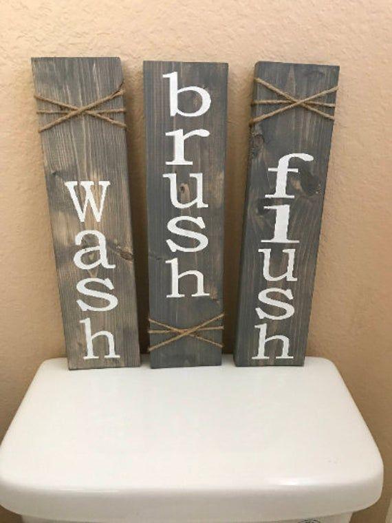 Photo of Wash brush flush, bathroom Decor, rustic bathroom, rustic wall Decor, set of three, home decor