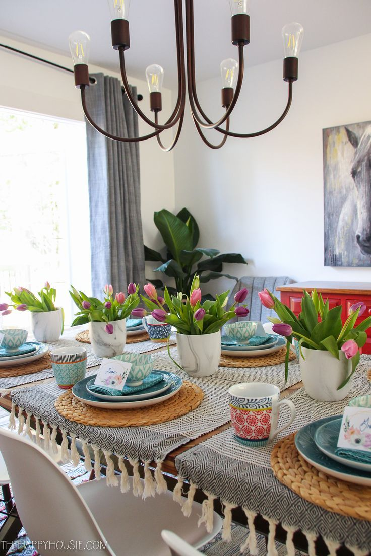 Photo of Simple Boho Chic Spring Dining Room & Tablescape | The Happy Housie – LIFESTYLE and HOME