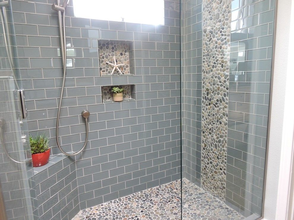 Contemporary Bathroom With Natural Green Pebble Tile, Handheld Showerhead,  Casement, Three Quarter Bath, Shower