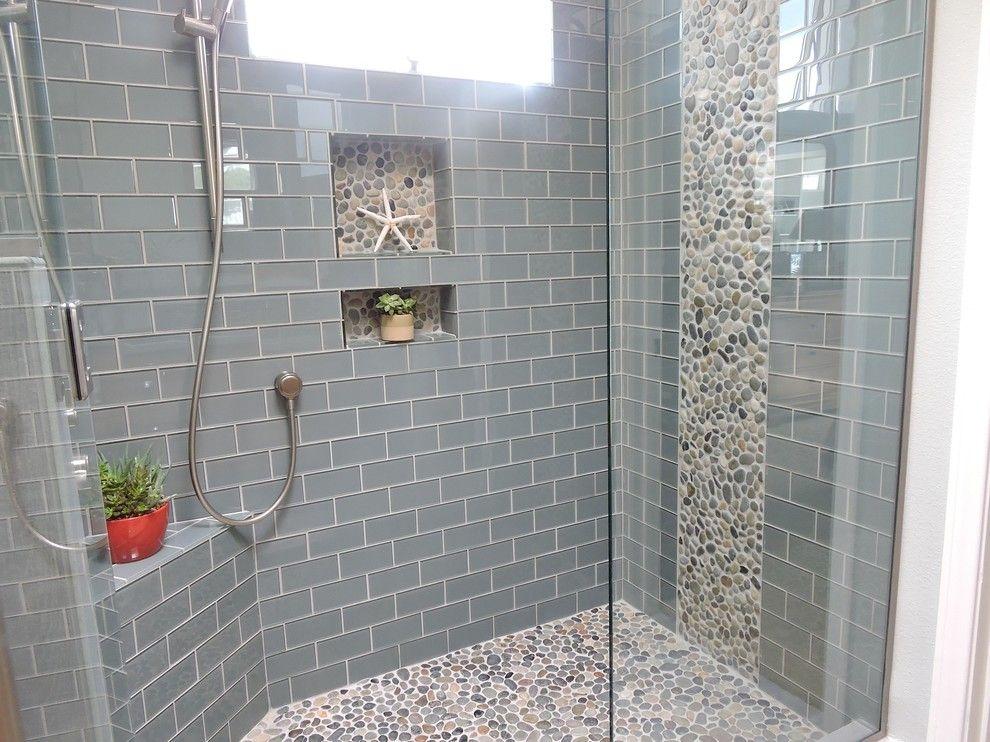 bathroom remodel shower glass tile shower