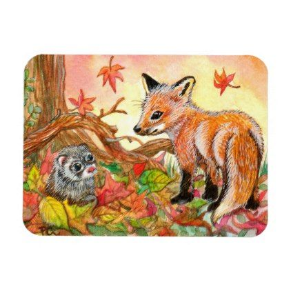 Cute FOX Round Magnet with Yellow Background /& leaves