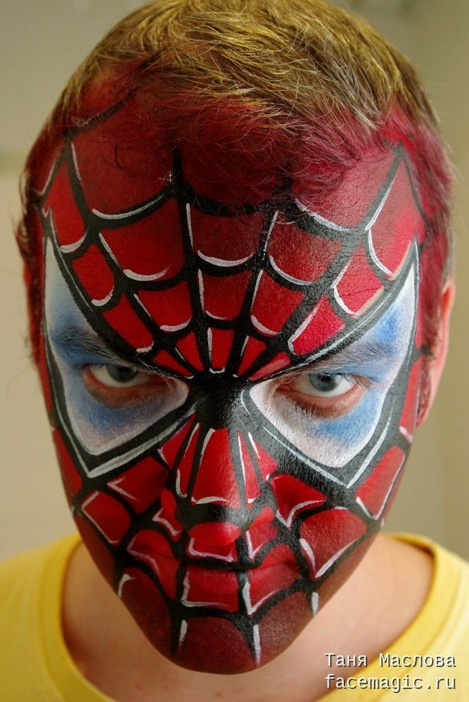 spider man spiderman face paint by tanya maslova visit to grab an amazing super hero shirt. Black Bedroom Furniture Sets. Home Design Ideas