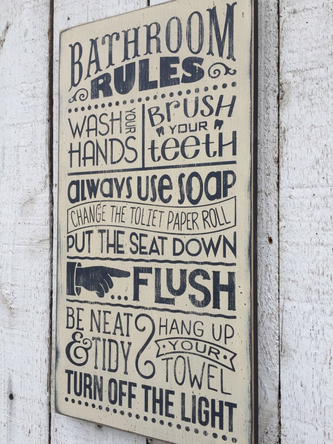 Photo of Items similar to Bathroom Rules – distressed rustic hand painted 9″ x 18″ sign, Children's bathroom wall decor, bathroom wall art on Etsy