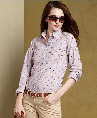 fc6714b808aa74 Tommy Hilfiger Shirt, Long-Sleeve Printed Button-Down - Womens Tommy  Hilfiger - Macy's Love the anchors!!