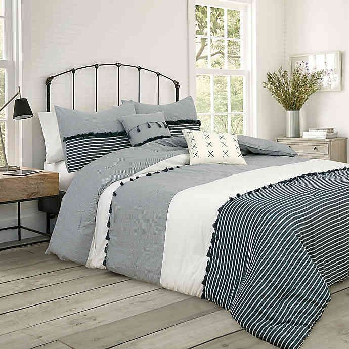 Photo of Providence 5-Piece Comforter Set in Charcoal Grey | Bed Bath & Beyond