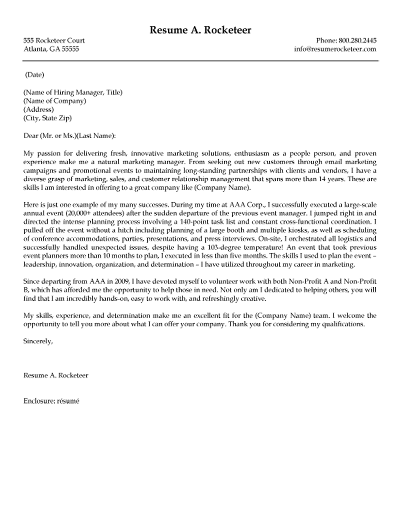 marketing event coordinator cover letter  review a cover letter example for an event or meeting