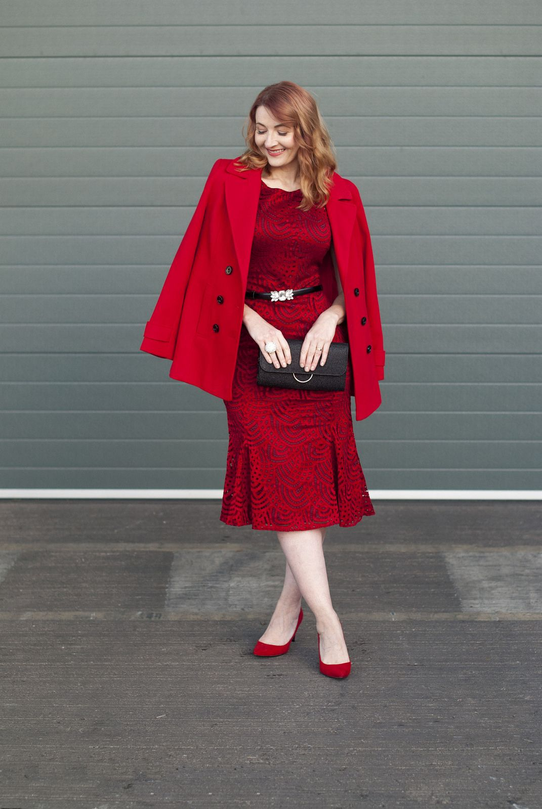 Christmas party or new yearus eve party outfit red lace midi dress