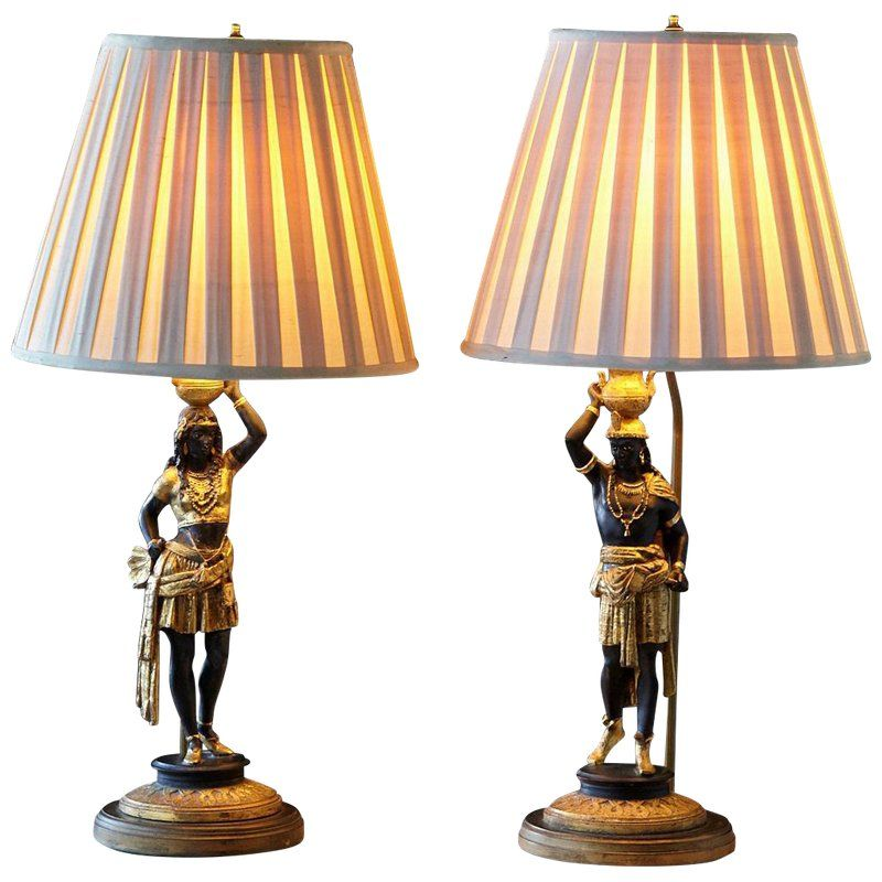 Pair Of Venetian Style Blackamoor Carved And Gesso Table Lamps Circa 1930s In 2020 Table Lamp Vintage Table Lamp Lamp