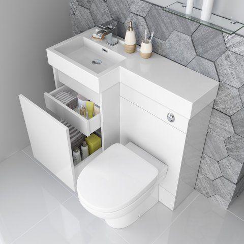 906mm Olympia Gloss White Drawer Vanity Unit Sabrosa Pan Small Toilet Room Tiny Bathrooms Small Bathroom
