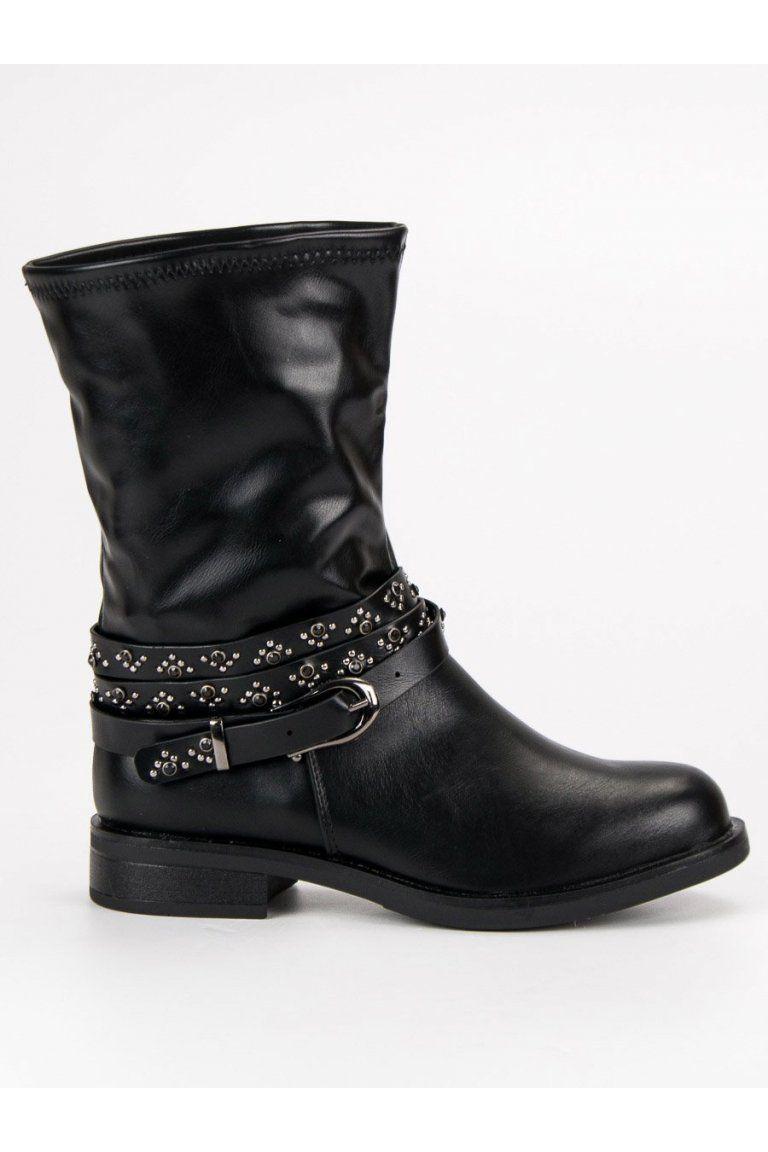 d2d74e631f0e3 Čierne vysoké topánky zdobené workery Small Swan | Čižmy Workery ...