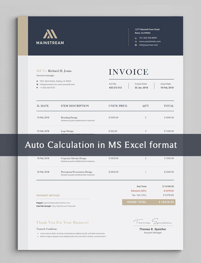 Invoice Template Business Invoice Receipt Excel Invoice Invoice Design Template Quote Template Design Invoice Template