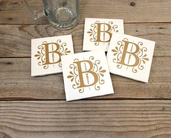Coaster Set Personalized, Coaster Wedding Favors