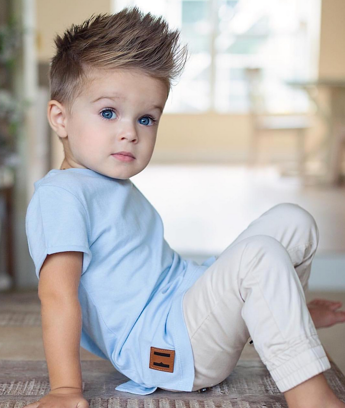Blue Eyes Blonde Hair Types Of Haircuts For Men Blue Shirt White Pants In 2020 Baby Blonde Hair Boys Haircuts Curly Hair Baby