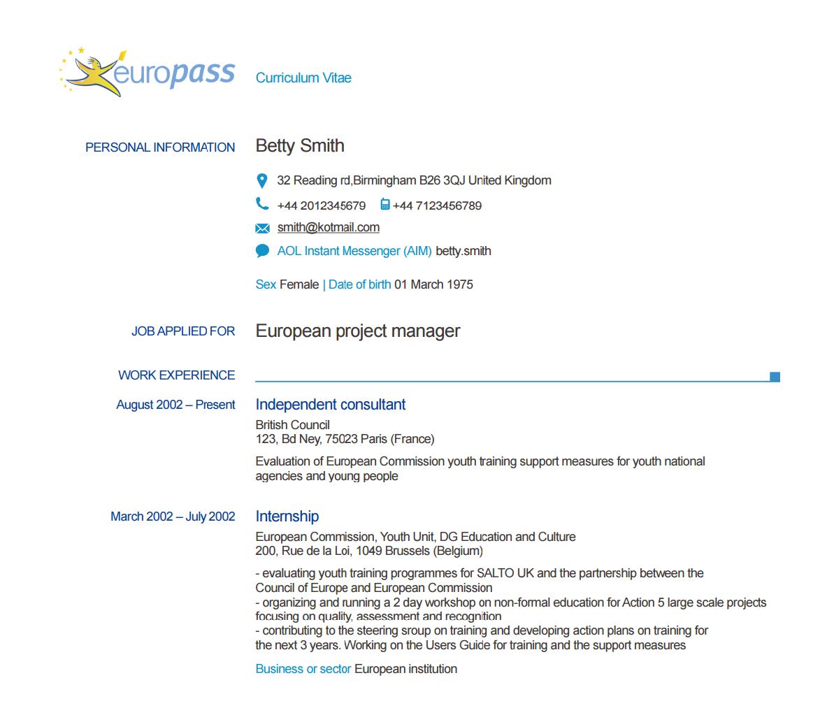passeport de comp u00e9tences europass   cv  test niveau d