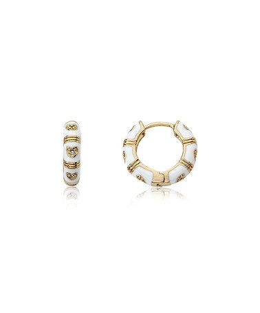 Another great find on #zulily! White Cubic Zirconia & Gold Heart Huggie Earrings #zulilyfinds