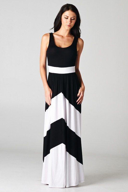 Black and white colorblock chevron maxi dress