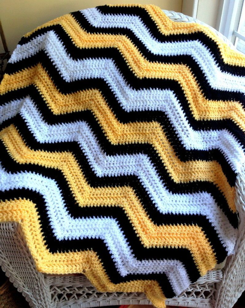 chevron ripple baby blanket afghan wrap crochet handmade BUMBLE BEE ...