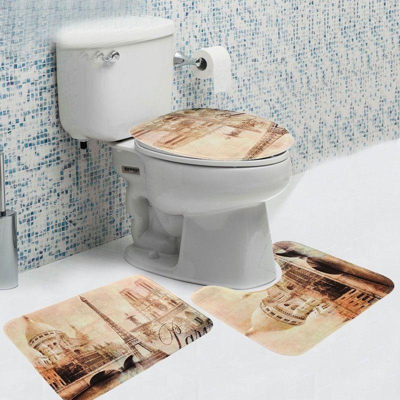3 Pcs Bathroom Soft Non Slip Mat Eiffel Tower Toilet Seat Covers Set