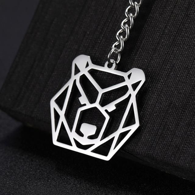 Photo of COOLTIME Anime Keychain Fox Tiger Wolf Bear Animal Stainless Steel Heart Cat Crane Dog Unicorn Rabbit Men Women Gift Key Chain – Bear-1 / with chains