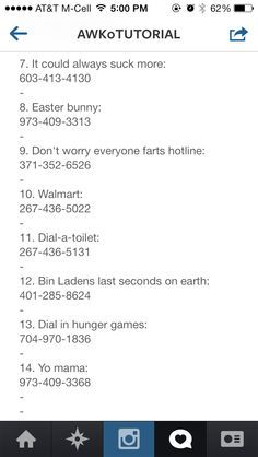 Phone numbers to call when bored | no s to call when bored
