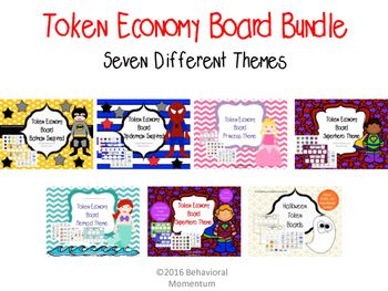 Token Board Bundle with seven themes:  2 superhero themes, princess, mermaid, batman inspired, spiderman inspired, and halloween.  Token boards are a visual token economy system. When the student demonstrates the required behavior, they earn a token for their board.