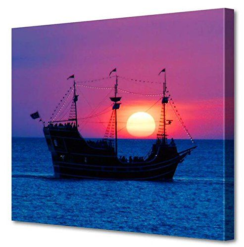 """Www  Menaul Fine Art """"Pirate Ship"""" Limited Edition Artwork, 45 x 36"""", Blue/Pink/Red/Black/White/Gold/Yellow/Purple"""