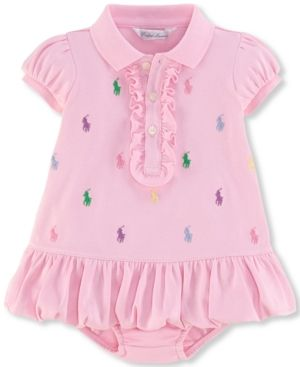 51fd7261b Ralph Lauren Baby Girls  Embroidered Polo Dress - -Hint Of Pink 12 months