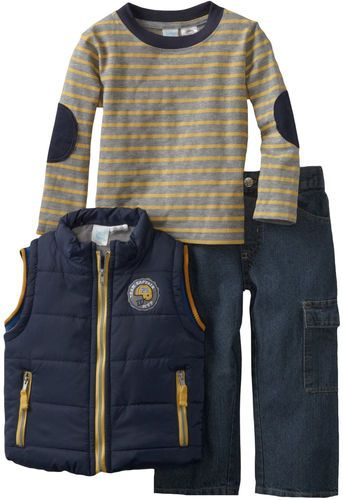 f6935afdf Baby Togs Infant Baby Boys 3 Piece Blue Puffy Vest Striped Shirt ...