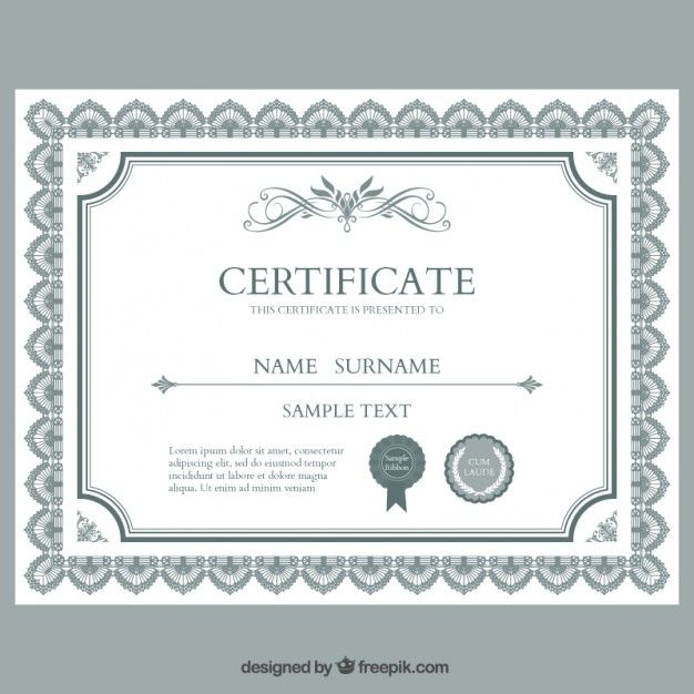 Plantilla de certificado Vector Gratis u2026 Pinteresu2026 - award templates for word