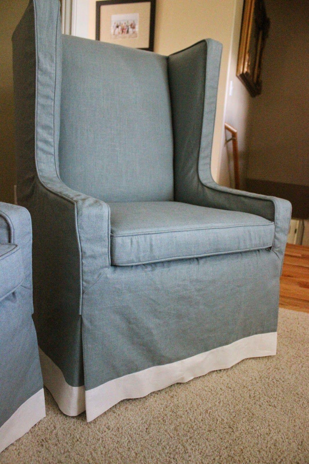 Waterfall Skirt And Banding Slipcovers, Chair. Slipcovered Furniture, DIY  Slipcovers, Custom Slipcovers, Blue Fabric, Linen.