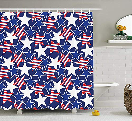 Gettoget Patriotic American Pattern Shower Curtain Curtains