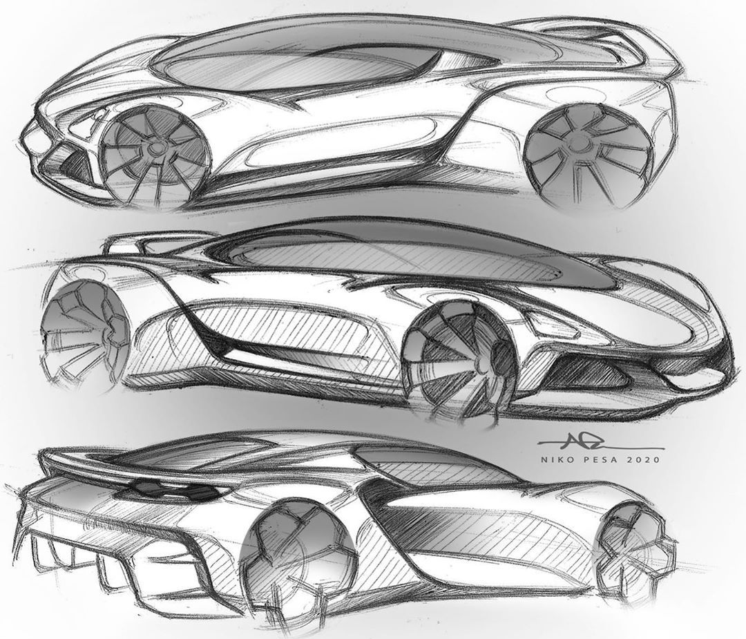Niko Pesa On Instagram That S Too Many Porsche S No One Ever Sketching Sportscar Hypercar Penpaperphoto In 2020 Car Drawings Car Design Sketch Car Design