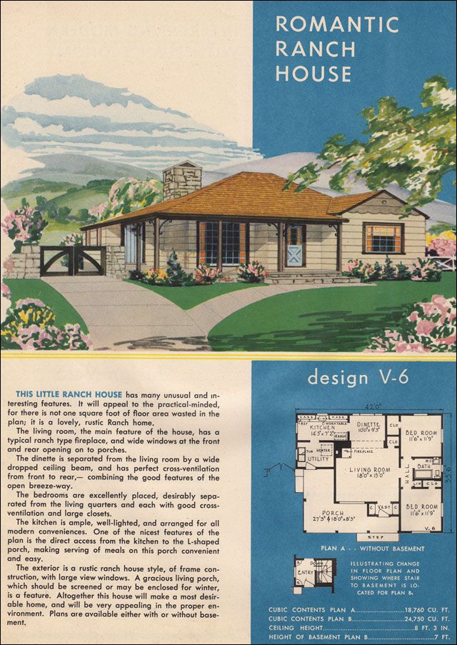 1945 Style Trends National Plan Service Rustic Ranch Style Mid Century Mo Mid Century Modern House Plans Ranch House Designs Mid Century Modern House