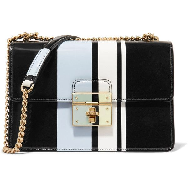Dolce Gabbana Striped Patent Leather Shoulder Bag 999 Liked On Polyvore Featuring Bags Handbags Black
